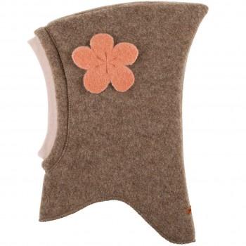 Woll Schlüpfmütze Blumen-Aufnäher walnuss-braun