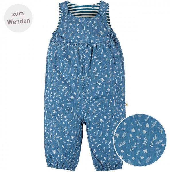 Strampler zum Wenden Blumen jeans-blau
