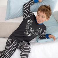 Interlock Schlafanzug anthrazit Eule