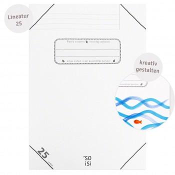 Schulheft Lineatur 25 mit weißem Rand DIN A4 ab Klasse 4