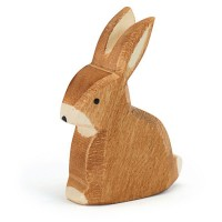 Hase sitzend Holzfigur 6,5 cm hoch