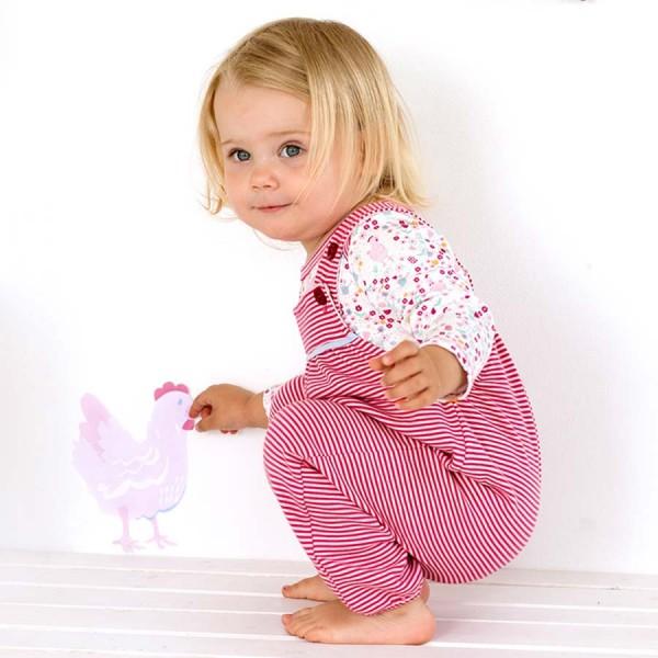 Baby Latzhose Ringel rosa-pink