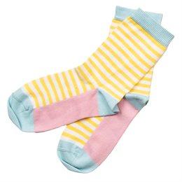 Socken Feinstrick gelb geringelt