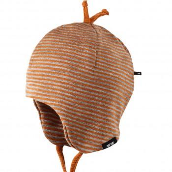 Erstlingsmütze Wolle Seide Doppellagig karamell-braun