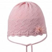 Gehäkelte Babymütze schick und edel von pure pure - rosa