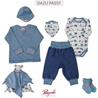 Vorschau: Bio Baby Shirt softe Bündchen blau