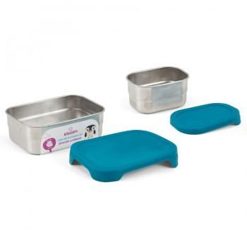 2 Edelstahl Brotbox mit Silikon Deckel petrol