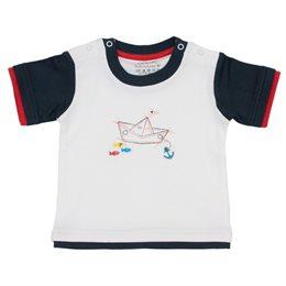 Lagenlook T-Shirt mit Boot Stickerei