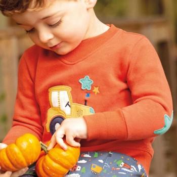 Sweat Pullover V-Ausschnitt Traktor orange