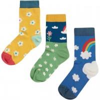 Socken 3er Pack Regenbogen blau-gelb