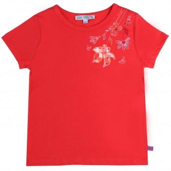Shirt kurzarm rot Blumen gestickt