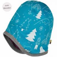 Strukturierte Mütze zum Wenden in lila Winterwald