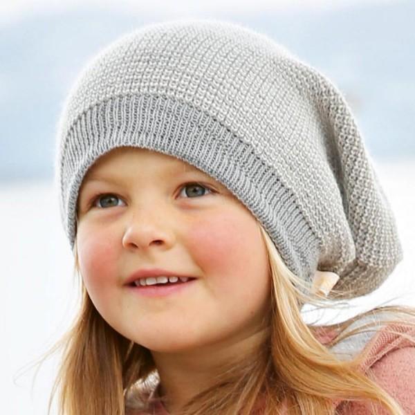 Long Beanie Strickmütze mitwachsend 2 -14 Jahre grau