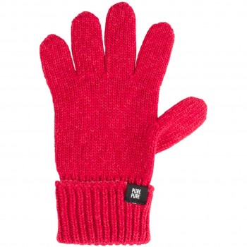 Fingerhandschuhe Umschlagbund Wolle Seide himbeer-pink