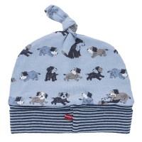 Leichte Mütze 45/47 Hundewelpen hellblau