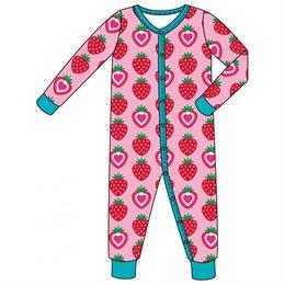 Leichter Babystrampler mit Reißverschluss Erdbeere