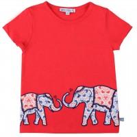 Shirt kurzarm rot Elefanten Aufnäher