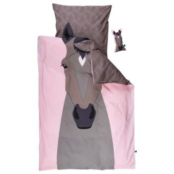 Pferde Bettwäsche 135x100 grau