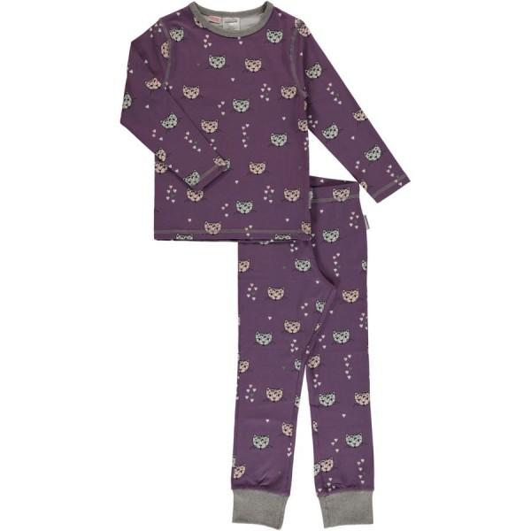 0e90230061f6 Flieder Katzen Schlafanzug normal dünn und elastisch