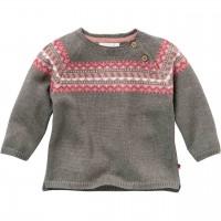 Warmer Strick Pullover mit Norweger-Muster braun