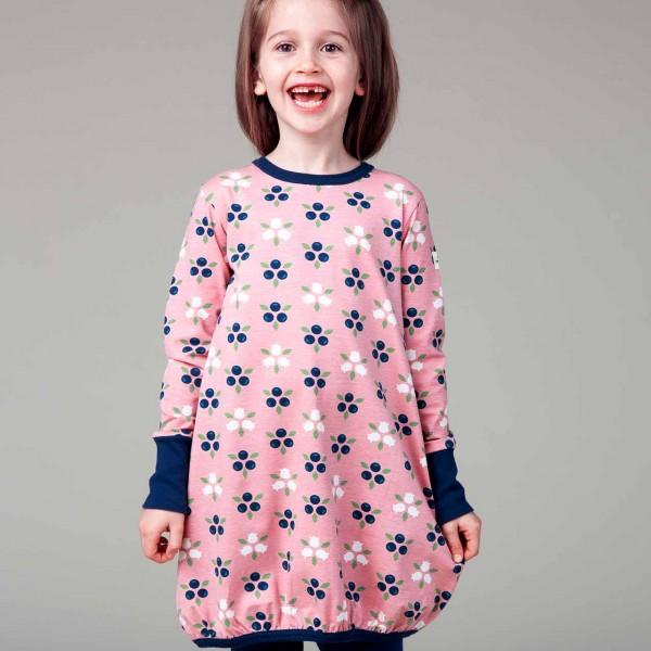 Ballon Kleid langarm elastisch Blaubeeren rosa