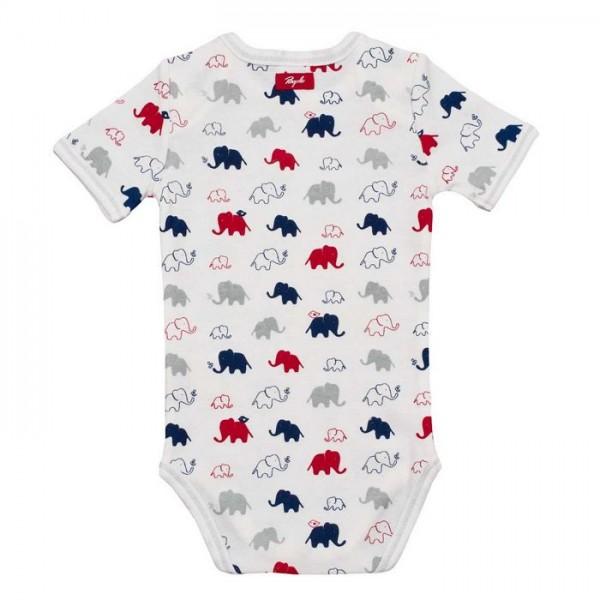 Baby Body people wear organic - weiß mit bunten Elefanten