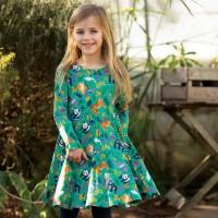 Mädchen Kleid langarm mit Dschugeltieren grün