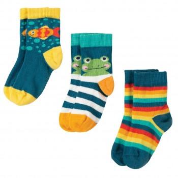Baby Socken 3er Pack Frosch und Fisch