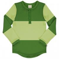 Grünes Langarmshirt Knopfleiste im Block-Design