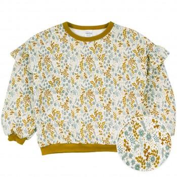 Dünnes Sweatshirt geblümt mit Rüschen creme