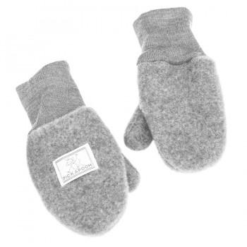 Fäustel mit Daumen Woll Fleece grau