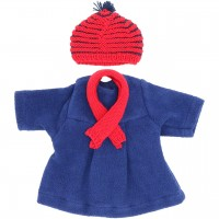 Puppenkleidung: Set mit Mantel, Mütze und Schal