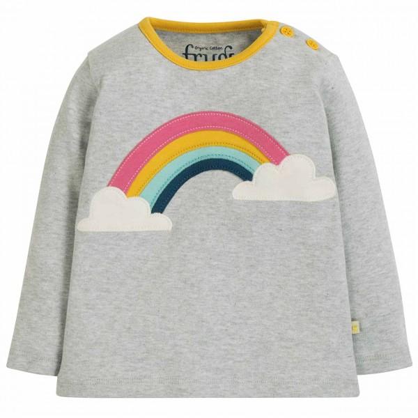 Langarmshirt Regenbogen Aufnäher in grau
