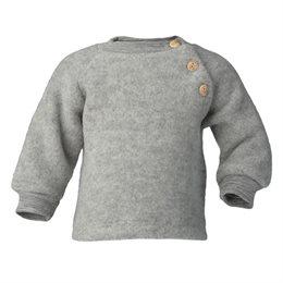 Woll Fleece Pullover Holzknöpfe grau
