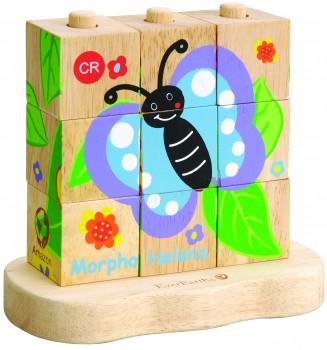 4 in 1 Stapelpuzzle - ein Schmetterling entsteht
