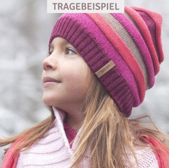 Mädchen Strick Wintermütze Himbeere-pink