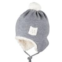 Warmer Baumwoll-Plüsch außen Wolle Mütze grau