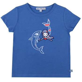 Meerjungfrau mit Delfin Aufnäher T-Shirt blau