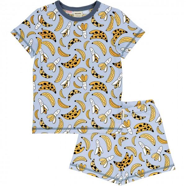 Kurzer Sommer Schlafanzug Bananen gelb-grau