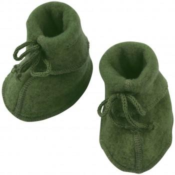 Warme Fleeceschuhe Schurwolle schilf-grün
