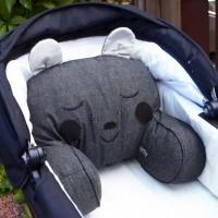 Anthrazit Sitzkissen für Kinderwagen und Bett - Bär