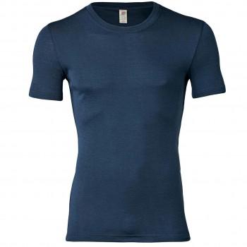 Wolle Seide Herren kurzarm Shirt marine