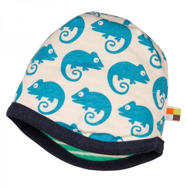 Wendemütze von Loud and Proud grün mit blauen Geckos