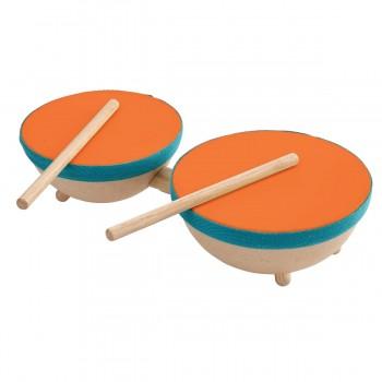 Kleine doppelte Trommel mit 2 Drumsticks