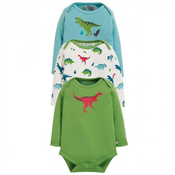 3er Pack Langarmbody Dino grün