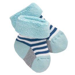 Frottee Babysocken weich jeansblau geringelt