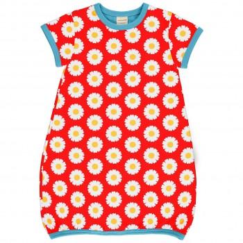 Ballon Kleid kurzarm elastisch Gänseblümchen rot