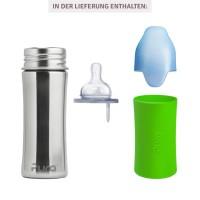 Vorschau: Pura kiki Babyflasche mitwachsend Lochgrösse mittel grün