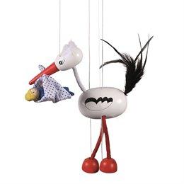 """Marionette für Kinder Storch mit Baby """"Adebar"""""""
