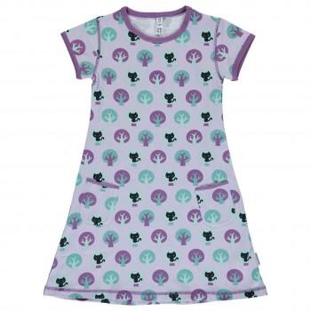 Kurzarm Kleid Katzen in lila